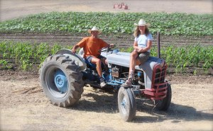 Edwin, Trina & their good ol' tractor.